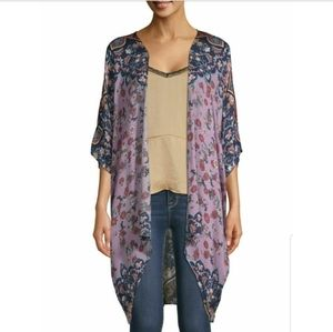 Time And True Lilac Floral Kimono